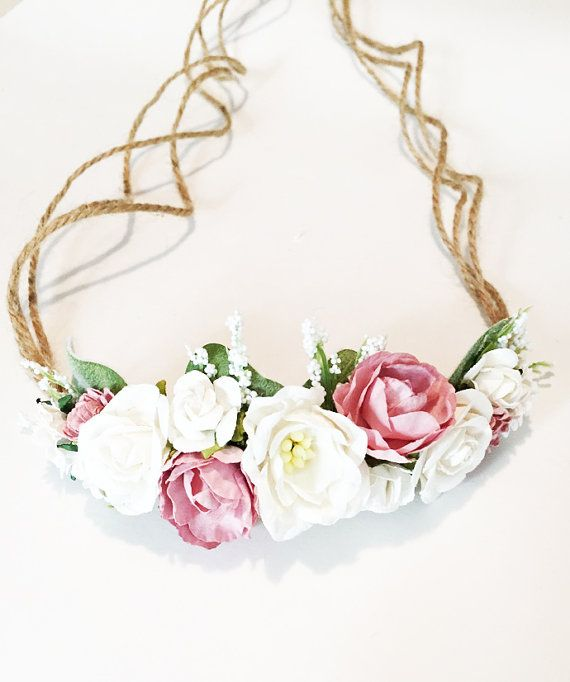 Tieback Flower Crown in Ivory and Pinks. Flowers are mounted on Natural Jute rope. Headband is adjustable and will fit any size baby, toddler, or