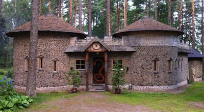 Viking Sauna is a real old-fashioned smoke sauna, which is bookable at your disposal. Living room with fireplace, dressing room, washroom, toilet and barbeque area are available in the sauna. Viking sauna is built of clay and wooden blocks (cordwood). Finland.