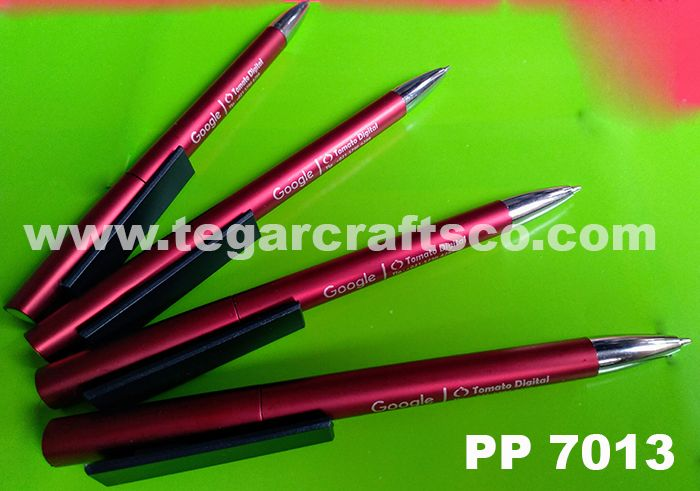 PP 7013, a maroon red twist pen for Google Partners merchandise with single color branding logo ordered by PT Tomato Digital Indonesia, Jakarta Indonesia.