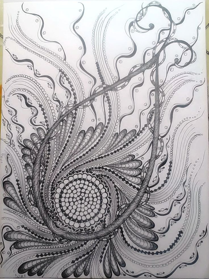 drawing in pen and pencils.