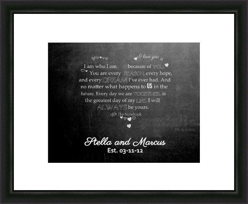 Valentines Day Gift. Personalized with your names/date. Quote from The Notebook.  Digital image only 8x10 or 16x20. Designed by Gumball Prints.