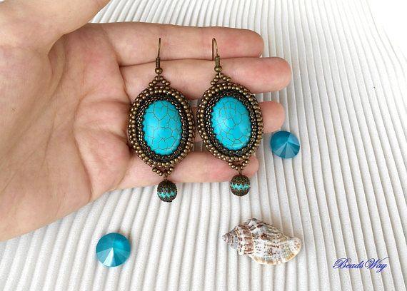 Earrings of beads/Earrings  turquoise/Orecchiini con pietra