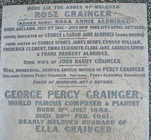 Detail of Grainger's grave