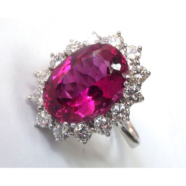 6.58 carat Certified Rubellite surrounded by 14 F/VS diamonds in White gold ring - EGL Certified - Lianne Jewelry