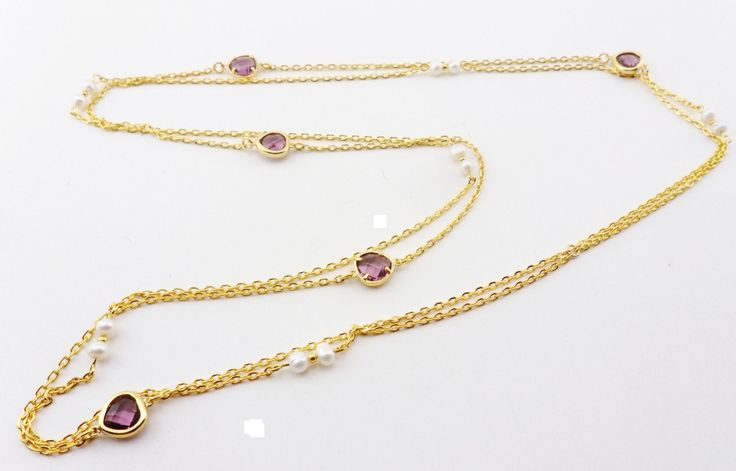 Gold Plated Purple Glass Link with Natural Pearl Beads Necklace