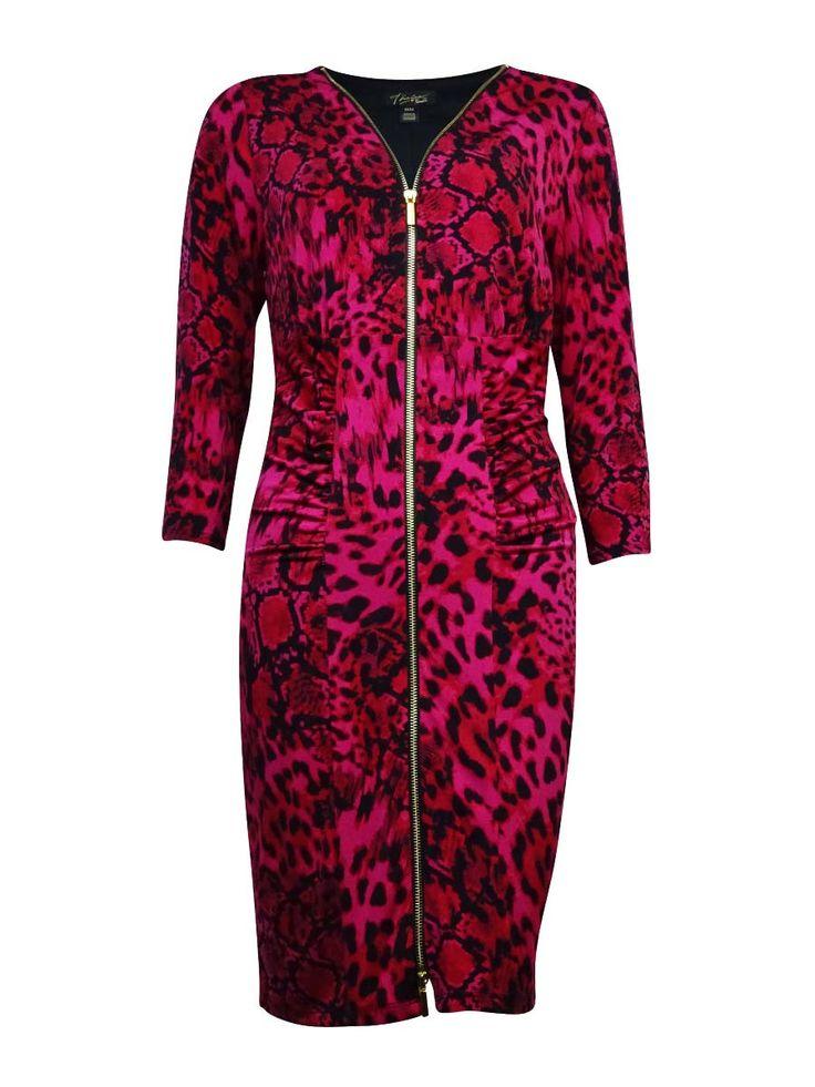 Thalia Sodi Women's Zip Up Animal Print Bodycon Dress