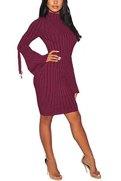 caae900005 Women Sexy Midi Sweater Dress Turtleneck Long Bell-Sleeves Bandage Hollow  Knit Stretchable Pencil for Party Burgundy