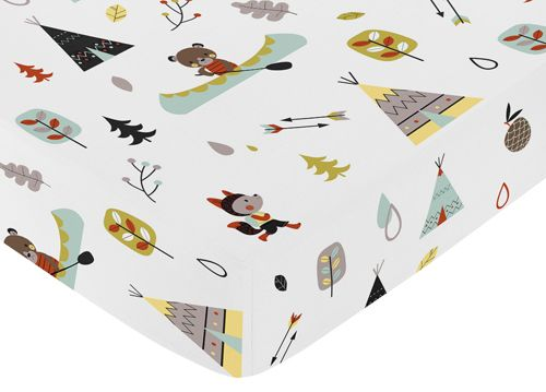 Outdoor animals print with teepee, foxes, bears and trees crib sheet