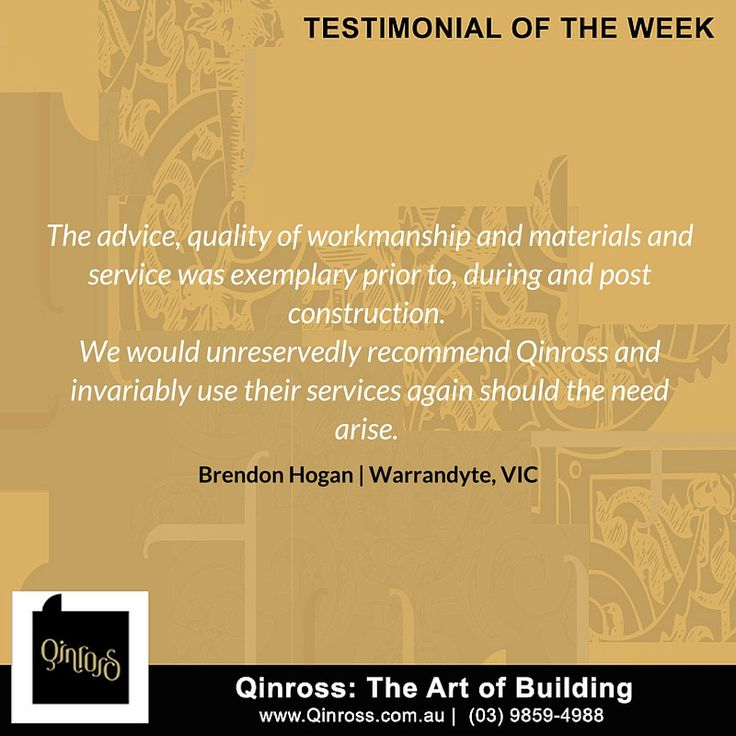 Our clients definitely love our work! Here's a testimonial from Brendon Hogan of Warrandyte!