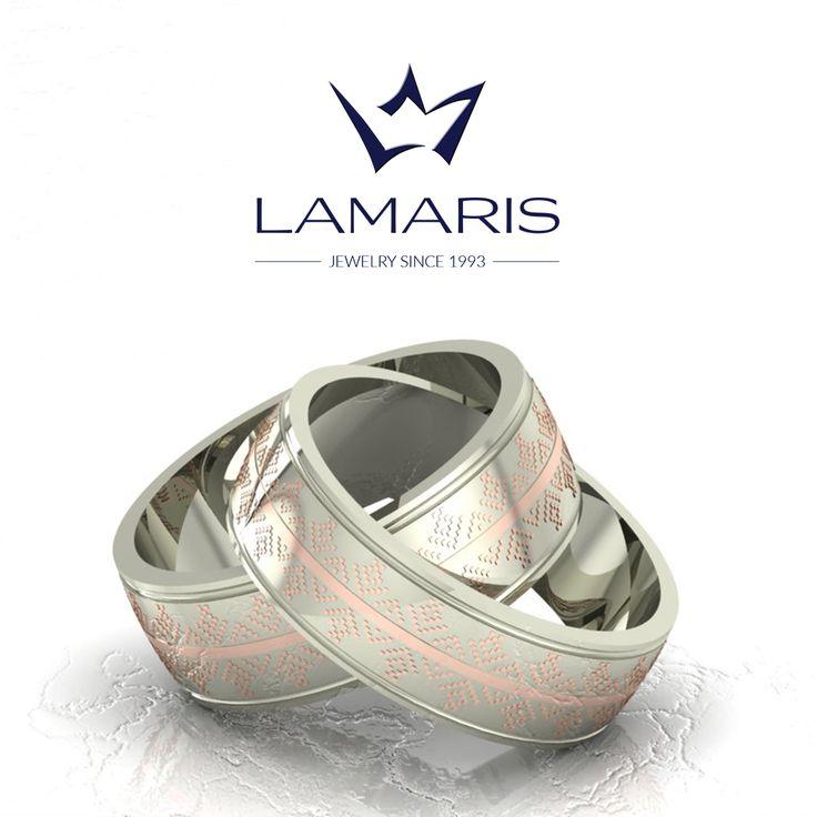 Set verighete din aur alb si roz cu motive traditional romanesti.