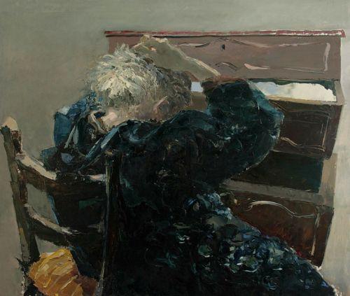 """Nella madre di Letizia rivedo mia madre, le mie nonne, tutte le persone perdute. Ecco una pittura che è pianto e preghiera. Letizia Fornasieri, """"Margherita vedeva altre cose"""". Olio su tavola, 110x130 cm, 2010."""