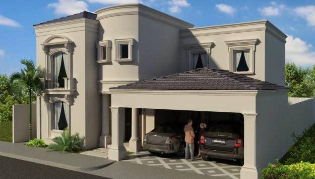 Este render de fachada muestra una casa con estilo moderno for Estilos de fachadas de casas