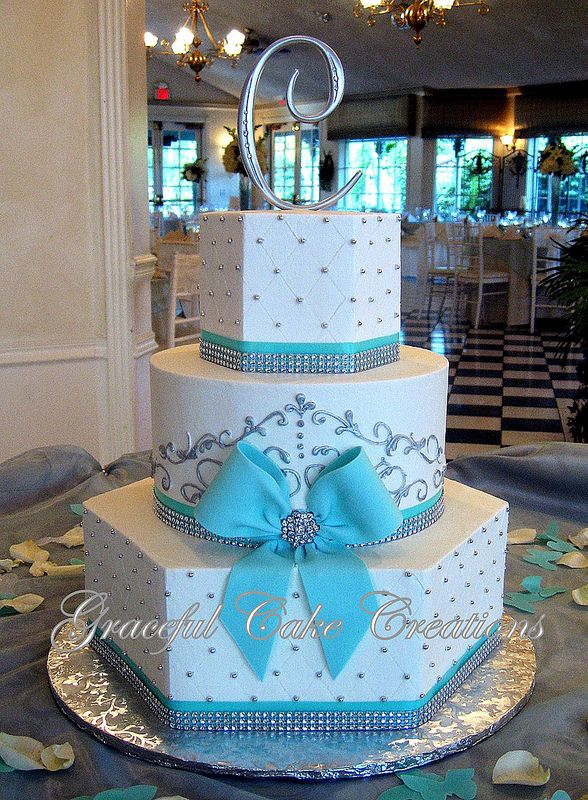 Elegant White and Tiffany Blue Wedding Cake with Bling