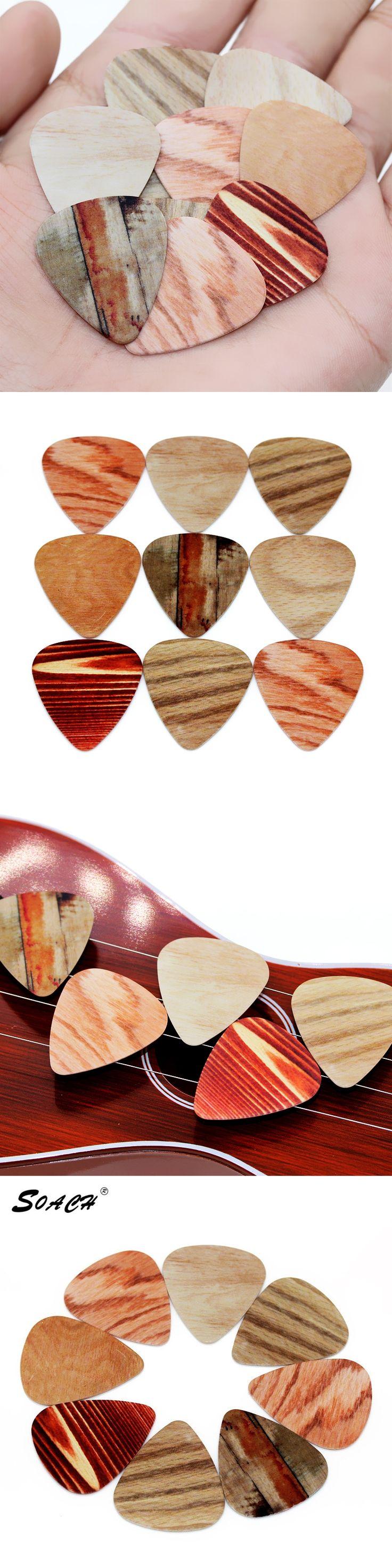 SOACH 10pcs/Lot 1.0mm thickness bass guitar picks guitar parts Selling wood grain pedal Guitarra/ukulele Accessories Strap