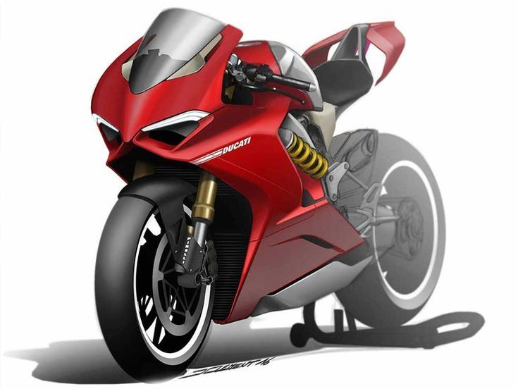Красный мотоцикл картинки рисунки