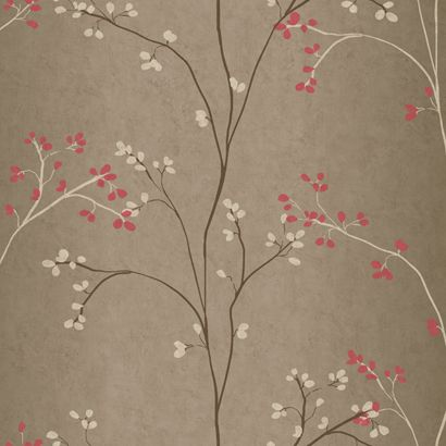 Vertical Blossoms pattern in mink and coral www.yorkwall.com #lovewallpaper