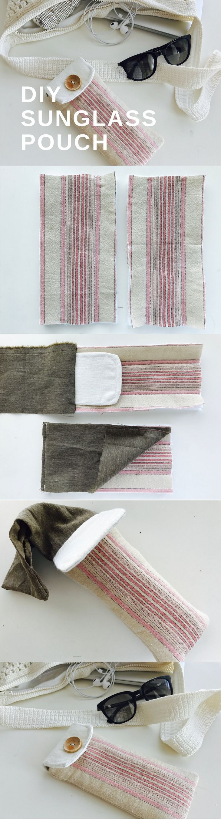 A sunglass pouch tutorial for the summer! The handy pouch takes up no space in your bag.