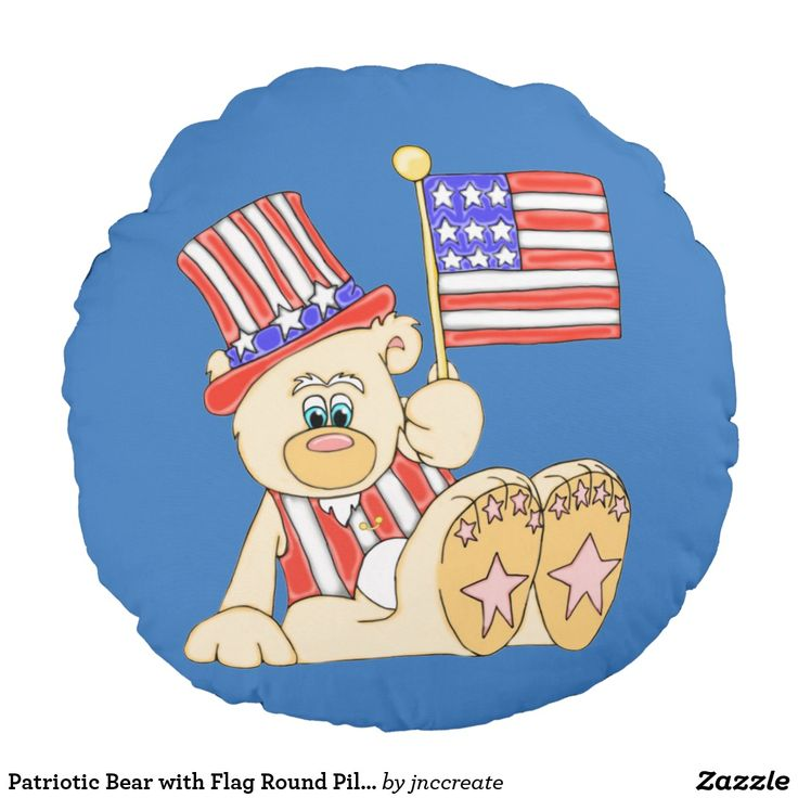 Patriotic Bear with Flag Round Pillow