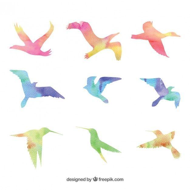 様々な鳥のシルエットを描いた無料のイラストベクター素材セットです。滲んだ水彩タッチで描かれていて、パステルカラーの色合いがとっても綺麗。柔らかくて綺麗なイメージのデザインに最適です。素材のファイル形式