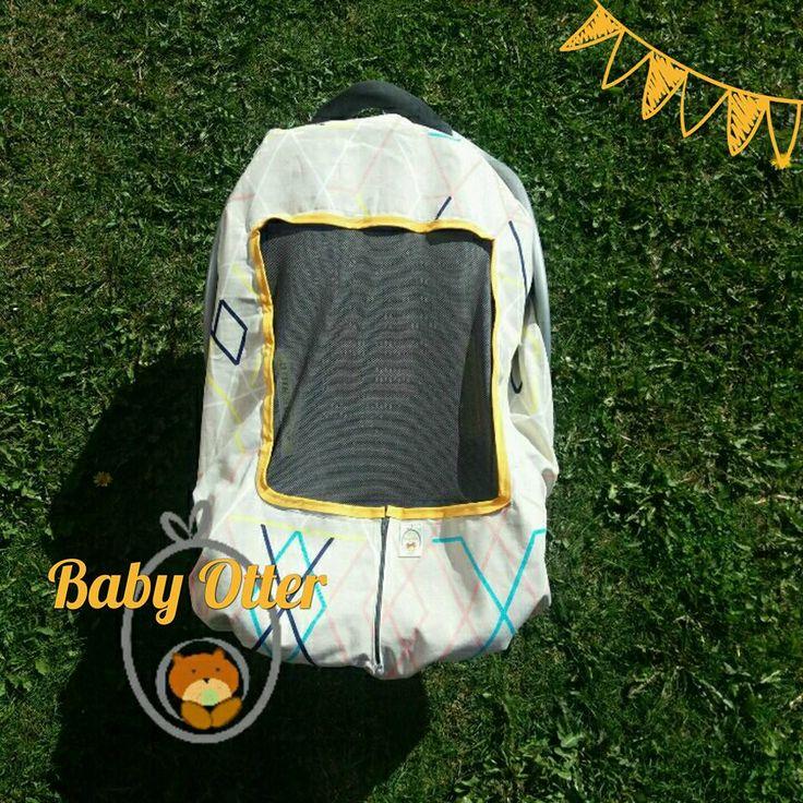 cubrehuevito de verano.  Protege a tu bebé del sol, mosquitos y viento!!  Modelo M, Diseño Líneas. Adaptables a casi todos los huevitos del mercado.  Respirable. Lavable. Personalizable.