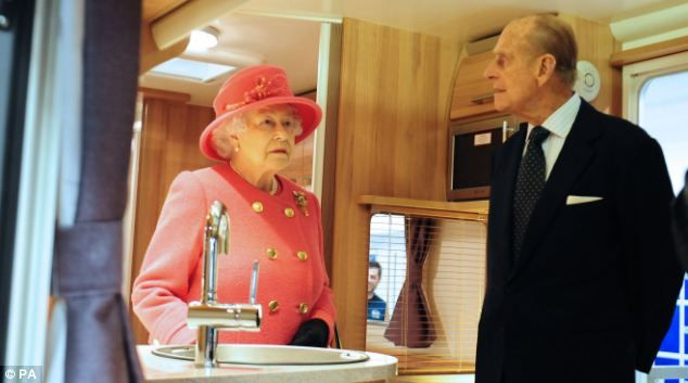 Visit: The Queen and the Duke of Edinburgh inside a giant motorhome during a visit to Bailey of Bristol caravan and motorhome manufacturers in November