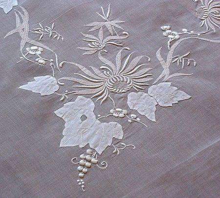 Em's Heart Antique Linens -Embroidered Madeira Vintage Organdy Tablecloth
