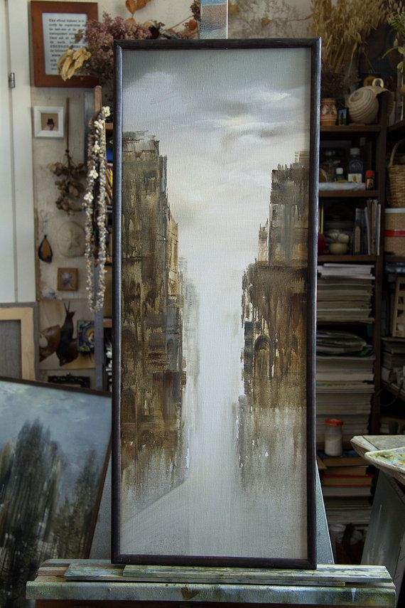 "Artist Tatyana Goodz. Oil painting ""Phantom"" oils original unique abstract art urban old architecture image Venice water rain buildings city town dream Russian"