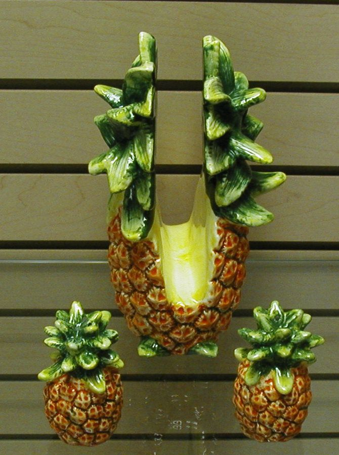 Pineapple Kitchen Decor | Pineapple Napkin Holder With Salt And Pepper  Shakers