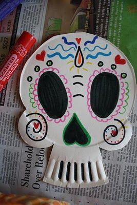 Day of the dead paper plate skull. - Fun activity for a medieval event about Hallows Eve or Zombies (Arrow's Flight did a whole event on Zombies/Undead with fun classes about different medieval ghost and ghouls, it was a big success)