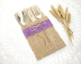 burlap silverware holder wish purple lace and bow table decor rustic wedding wedding