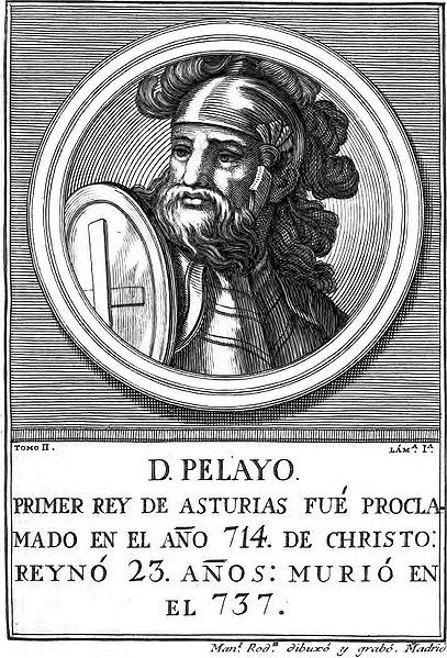 Don Pelayo (muerto en Cangas de Onís, Asturias, 737) fue el primer monarca del reino de Asturias, que rigió hasta su muerte. Su origen es controvertido, aunque se le atribuyen los orígenes más variados