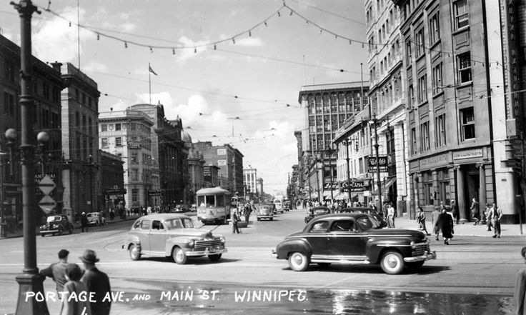 "Portage and Main in the 1940s (photo courtesy of ""Winnipeger"" on Facebook)"