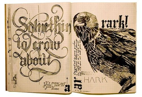art, calligrafia, calligraphy, crow, design, doodle, drawing, fraktur ...