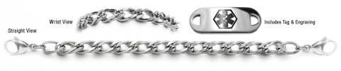 Stainless steel medical id bracelet, tag and engraving set-Un Prezzo Milano 22001