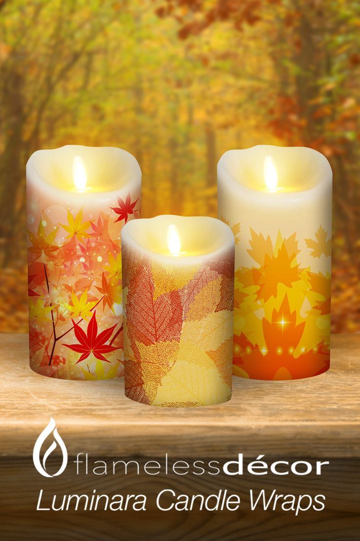 Decorate your Luminara Flameless Candles for any season with Candle Wraps by Flameless Decor!