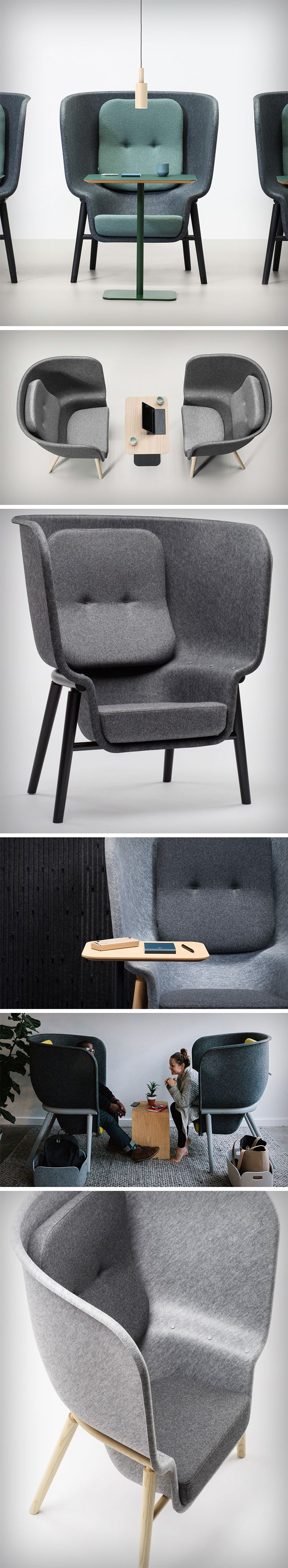 The Pod Chair is a charismatic solution to escaping the modern hustle and bustle of the workplace. Developed using sound dampening properties and materials, The Pod Chair provides the sensation of privacy within noisy, crowded spaces. Upon taking a seat here, the surrounding noise levels are instantly reduced, making it ideal to gain some form of concentration.