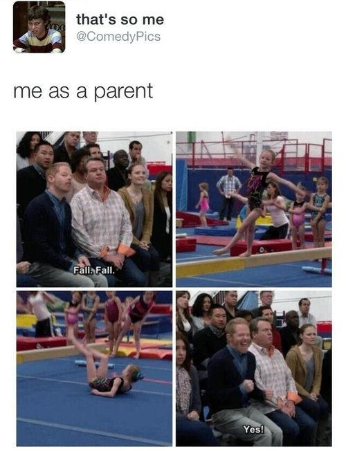If my kid does gymnastics (which lets hope they do) this will be me towards the other kids because first of it will be funny, second of all my kid needs to win!!