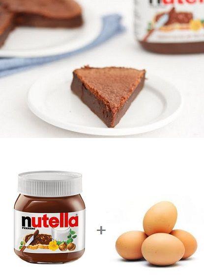 2 Ingredient Flourless Nutella Cake