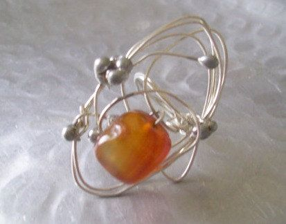Carnelian Wrapped Ring. Silver Wrapped by JirjiMirjiOneofaKind, €14.75