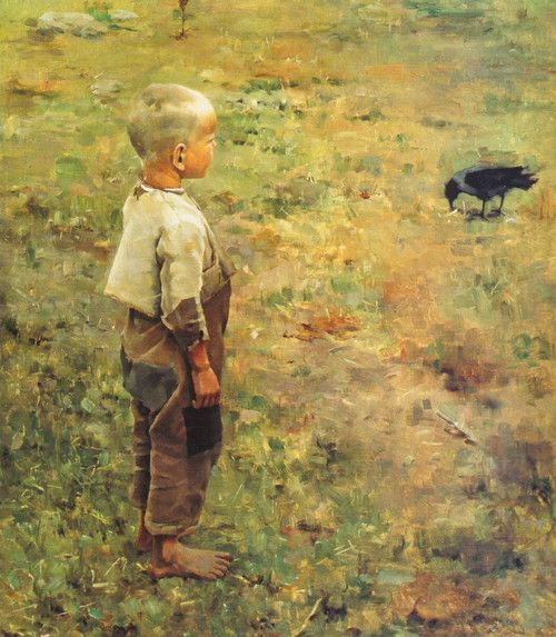 Boy with a Crow 1884 Akseli Gallen-Kallela