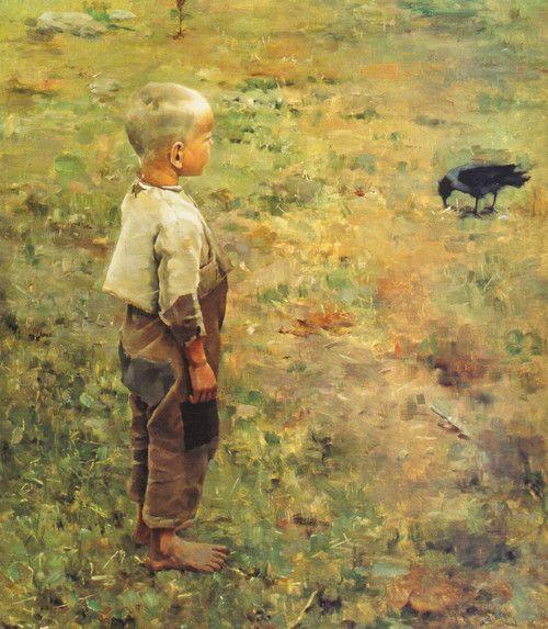 Boy with a Crow 1884 Akseli Gallen-Kallela