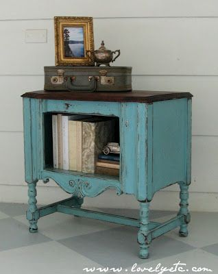 "Yard Sale find makeover... | ""My favorite little aqua redo - Lovely Etc."" 