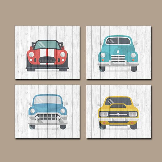 Classic CARS Wall Art, Baby Boy Nursery Art, Retro Cars, Vintage Antique Cars, Transportation Theme, Set of 4 Canvas or Print Wall Decor