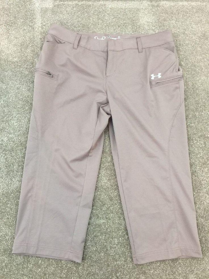 Under Armour Heat Gear Beige Cropped Capri Pants Women's Sz 12* #UnderArmour #PantsTightsLeggings
