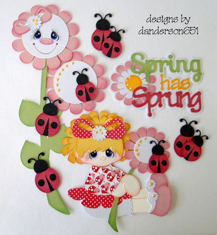 Newly listed on ebay....danderson651...paper piecing, girl, spring, flowers, ladybugs