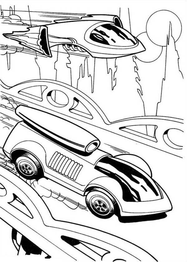 Hot Wheels Futuristic Design Car Race Jet Plane Coloring Page