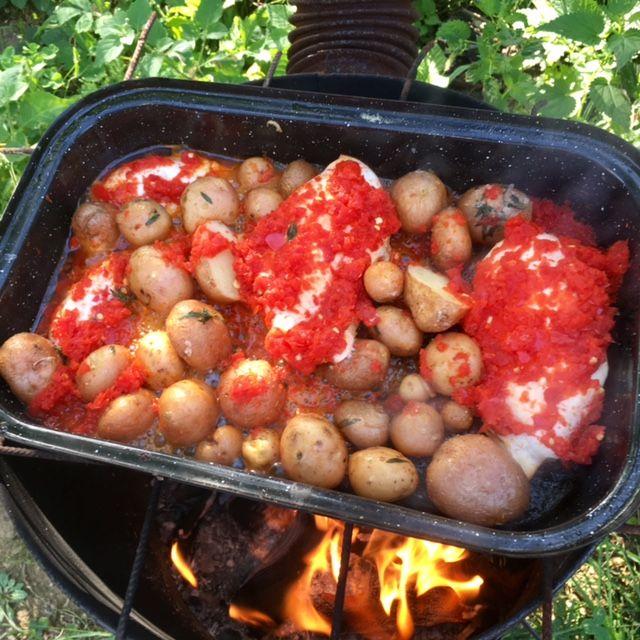 Pikantné kura na paprike s čerstvo vykopanými zemiakmi. Luxus jednoduchého života.