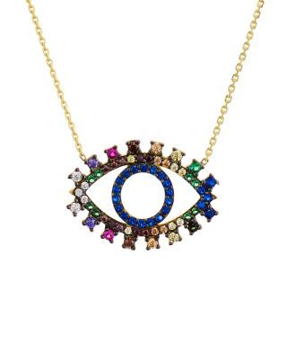 2156b9706 Aqua Multi Color Eye Pendant Necklace, 15