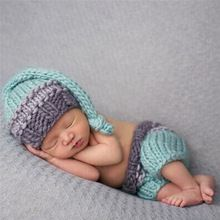 Pasgeboren Baby Fotografie Prop Photo Haak Outfits Knit Baby Broek en Hoed 0-4…