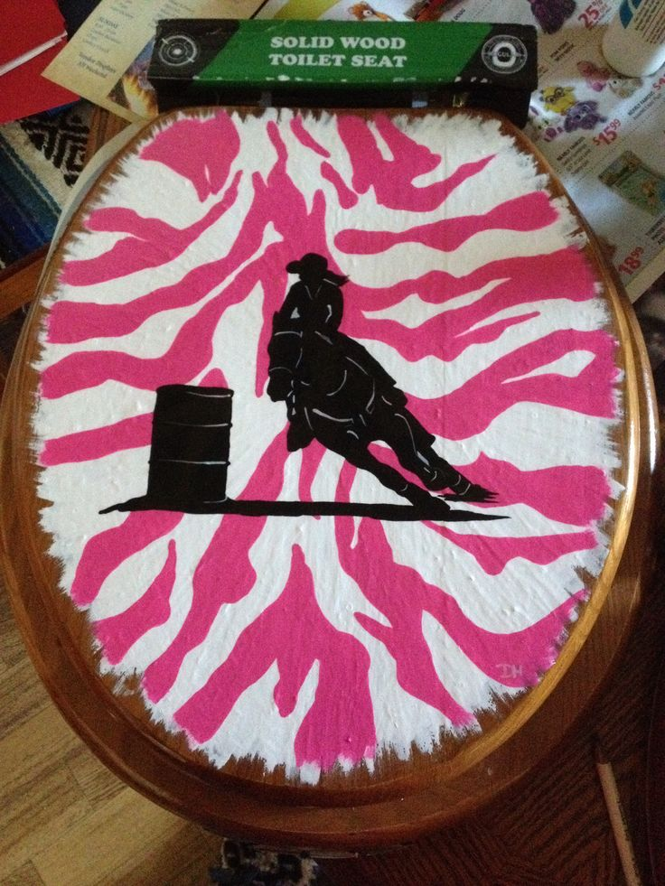 Wild Rodeo series of painted wooden toilet seats - Hot Pink Zebra Barrel Racer $45 starboundhorses.ca